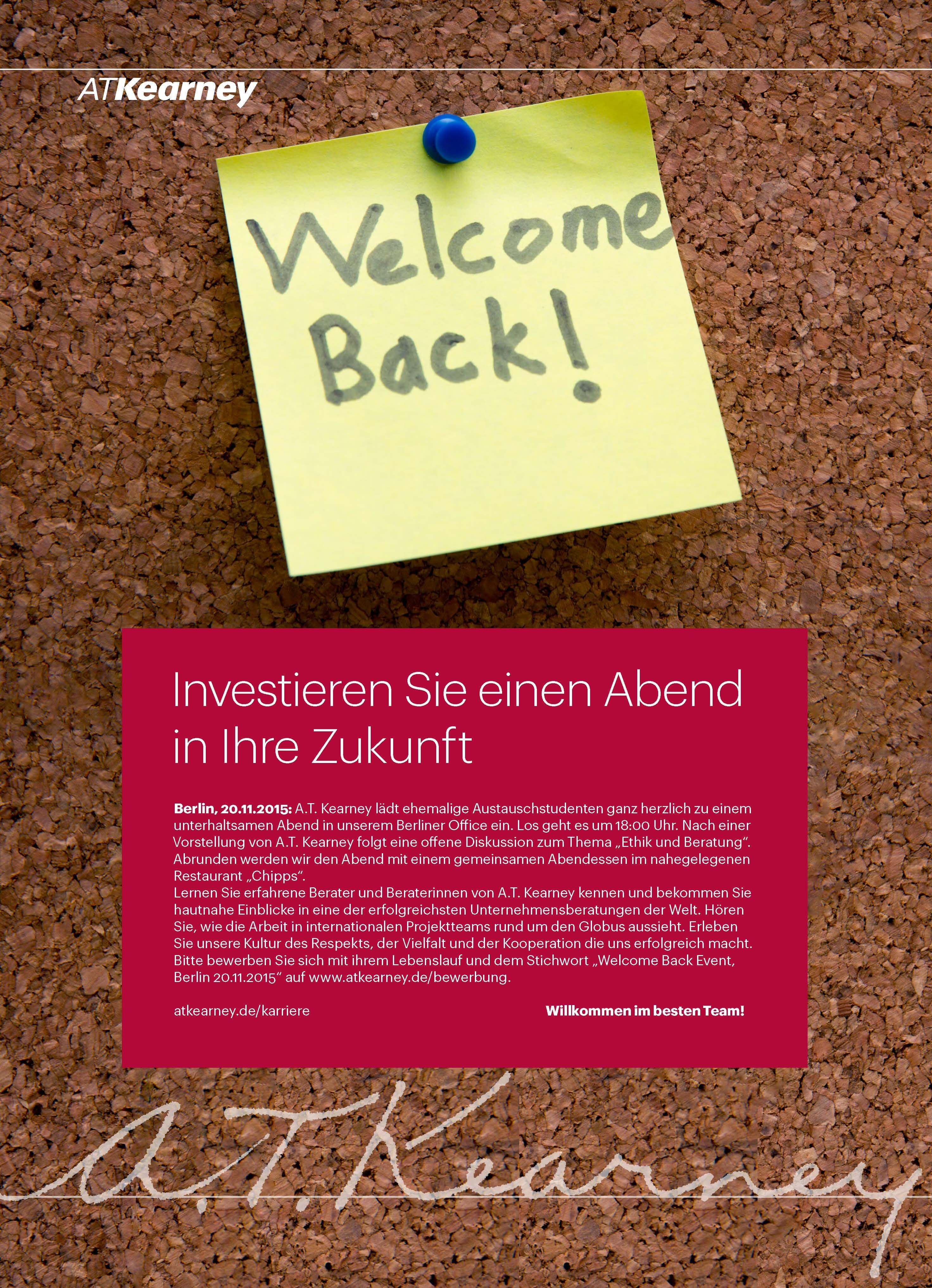 Welcome Back Event 20.11.2015 A.T. Kearney