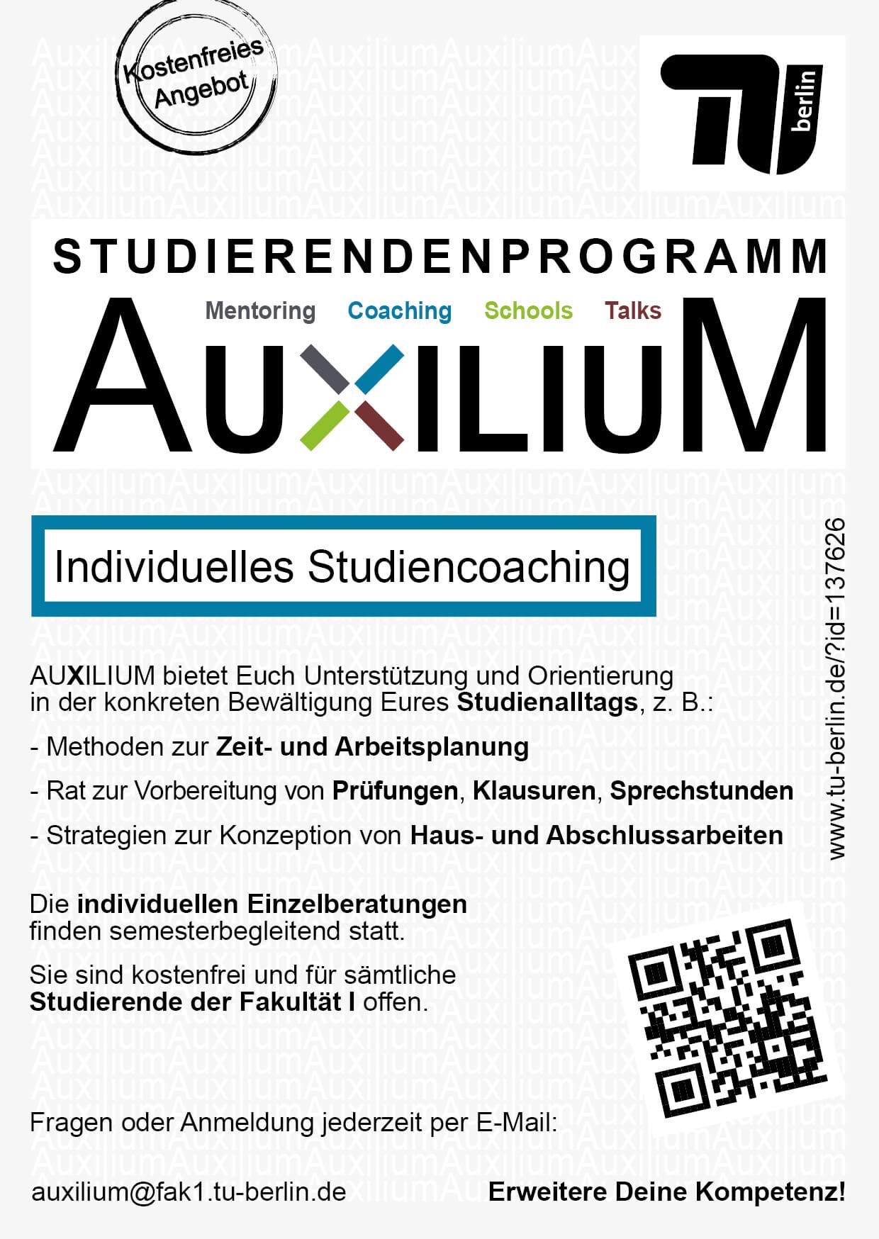 Kostenloses Coaching für Haus- und Abschlussarbeiten bei AUXILIUM